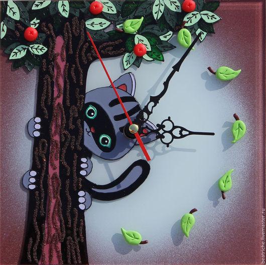"""Часы для дома ручной работы. Ярмарка Мастеров - ручная работа. Купить Часы """"Кто сказал МЯУ?"""". Handmade. Разноцветный, котенок"""