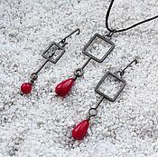 Украшения ручной работы. Ярмарка Мастеров - ручная работа Подвеска и серьги из серебра с тонированным кораллом. Handmade.