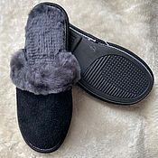 Обувь ручной работы handmade. Livemaster - original item Men`s suede sheepskin slippers black. Handmade.