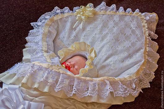 """Для новорожденных, ручной работы. Ярмарка Мастеров - ручная работа. Купить Уголок на выписку для новорожденного """" крошка"""". Handmade. Белый"""