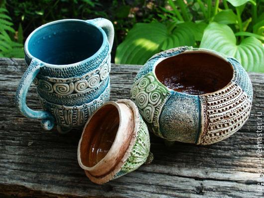 Кружки и чашки ручной работы. Ярмарка Мастеров - ручная работа. Купить Печворк  на ножках. Handmade. Тёмно-бирюзовый, глина