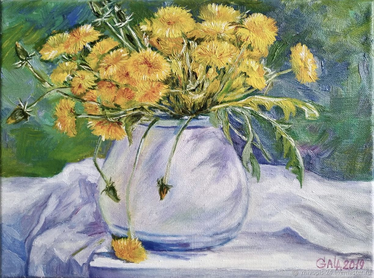 Oil painting. Dandelions, Pictures, Moscow,  Фото №1