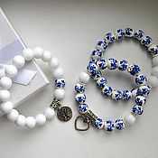 Украшения handmade. Livemaster - original item A set of painted bracelets of white agate. Handmade.