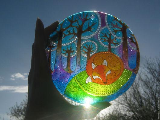 Абстракция ручной работы. Ярмарка Мастеров - ручная работа. Купить Лисичкины сны Ловец солнца Роспись по стеклу. Handmade. Витраж
