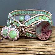 Украшения handmade. Livemaster - original item Stone beaded bracelet. Rose Quarz and Сalcite bracelet. Handmade.