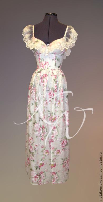 """Платья ручной работы. Ярмарка Мастеров - ручная работа. Купить Сарафан"""" Розовый сад"""". Handmade. Белый, кружево хлопок"""