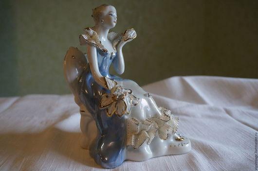 Винтажные предметы интерьера. Ярмарка Мастеров - ручная работа. Купить Винтажная фарфоровая статуэтка Дама в голубом. Handmade. Винтажная статуэтка