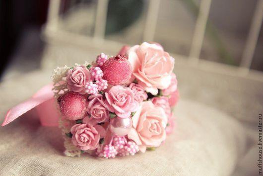 """Свадебные украшения ручной работы. Ярмарка Мастеров - ручная работа. Купить Браслетик """"Розовые мечты"""". Handmade. Розовый, подружки невесты"""