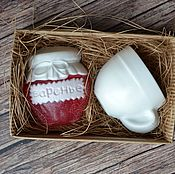 Косметика ручной работы. Ярмарка Мастеров - ручная работа Набор мыла баночка варенья и чашка. Handmade.