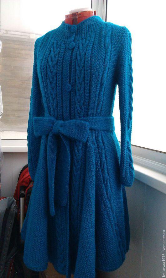 Верхняя одежда ручной работы. Ярмарка Мастеров - ручная работа. Купить Пальто расклешенное. Handmade. Морская волна, пальто с поясом