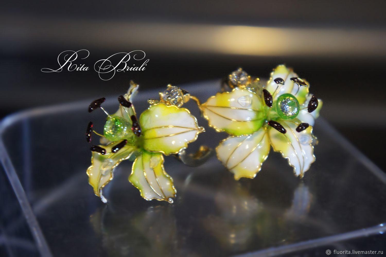 Flower earrings 'Lilies' stained glass, Earrings, St. Petersburg,  Фото №1