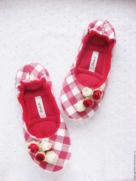 """Обувь ручной работы. Ярмарка Мастеров - ручная работа. Купить Тапочки """"Красная шапочка""""38, 38,5. Handmade. Ярко-красный"""
