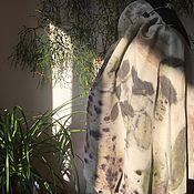 Аксессуары ручной работы. Ярмарка Мастеров - ручная работа Шелковый шарф Эко принт N4. Handmade.