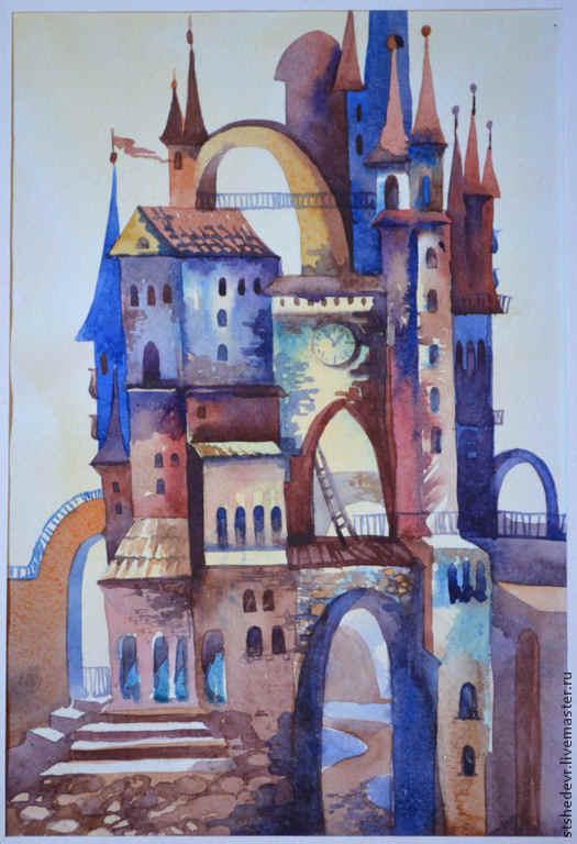 """Город ручной работы. Ярмарка Мастеров - ручная работа. Купить Акварельная картина """"Сказочные миры """". Handmade. Голубой"""