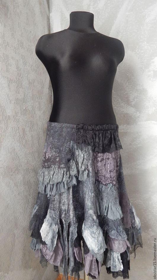 """Юбки ручной работы. Ярмарка Мастеров - ручная работа. Купить Валяная юбка """"Интрига"""" (бохо-стиль). Handmade. Серый"""