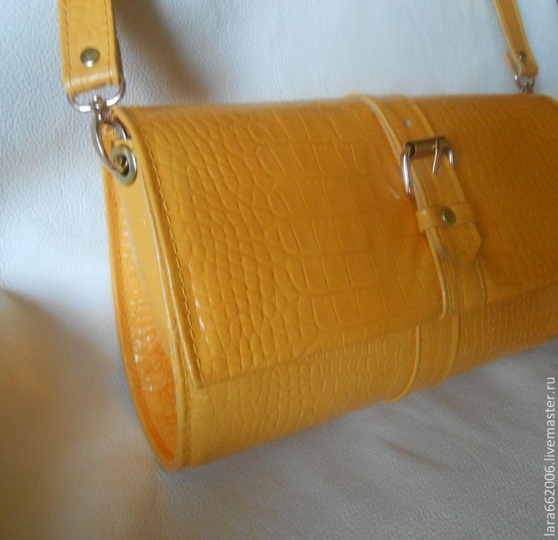 """Кожаная сумка клатч  """"Солнечная  ИТАЛИЯ""""  - желтый кроко, Clutches, Taganrog,  Фото №1"""