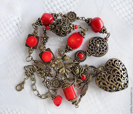 колье Ажурное Сердце Красные Кораллы Колье с натуральными кораллами. 1940 руб.