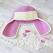 Работы для детей, manualidades. Livemaster - hecho a mano gorra ushanka infantil para niñas sombrero de punto caliente de invierno de la rosa. Handmade.