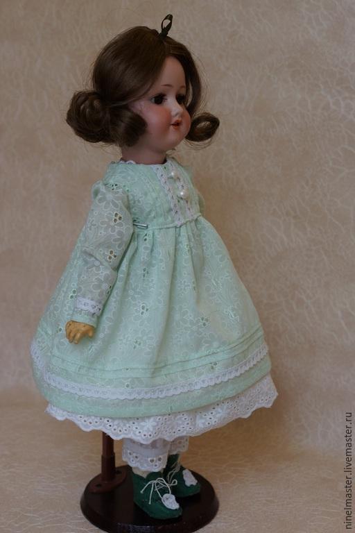Одежда для кукол ручной работы. Ярмарка Мастеров - ручная работа. Купить Платье для антикварной куклы.. Handmade. Мятный, домашнее платье