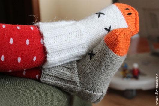 """Носки, гольфы, гетры ручной работы. Ярмарка Мастеров - ручная работа. Купить Детские шерстяные носки """"Два веселых гуся"""". Handmade."""