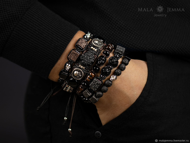 Bracelet Braided with skulls Onyx Lava Braided friendship bracelet, Braided bracelet, Magnitogorsk,  Фото №1