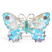 Украшения handmade. Livemaster - original item Brooch BUTTERFLY. Turquoise, Charoite, mother of pearl. Natural stones.. Handmade.