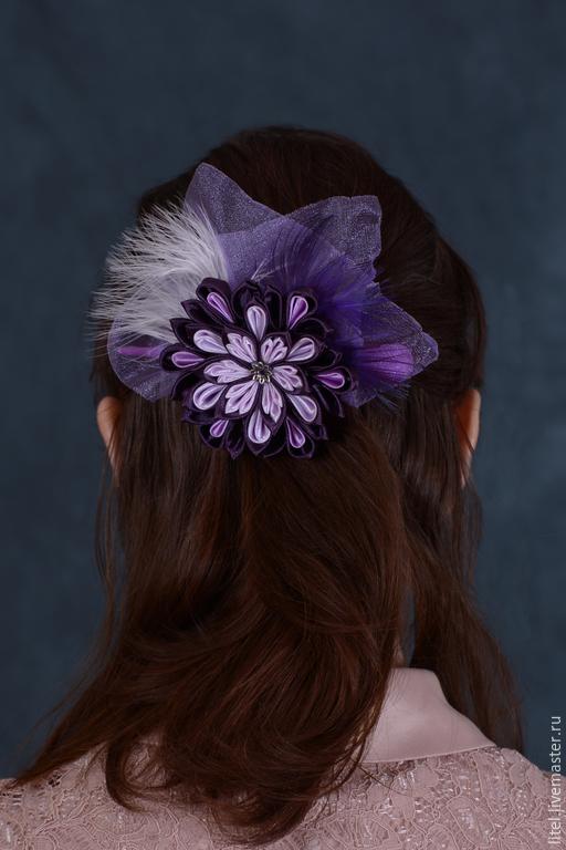 """Заколки ручной работы. Ярмарка Мастеров - ручная работа. Купить Уточка """"Сиреневая дымка"""". Handmade. Фиолетовый, перья, украшение для волос"""