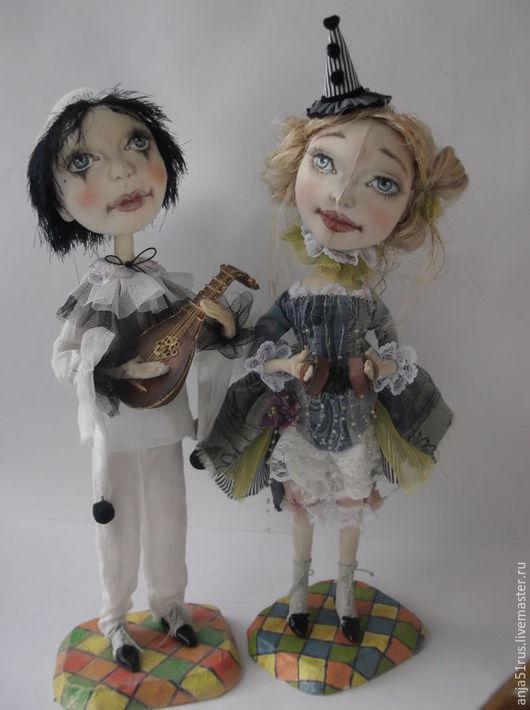Коллекционные куклы ручной работы. Ярмарка Мастеров - ручная работа. Купить Пьеро и Пьеретта продана. Handmade. Голубой, бисер