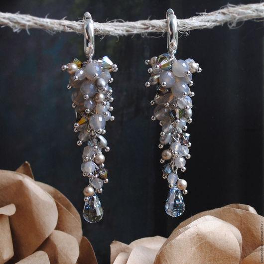 Серьги `После грозы`. Натуральные камни, кристаллы Swarovski, серебро 925 пробы