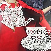 Материалы для творчества handmade. Livemaster - original item Cotton Lace Appliques. tea set. Handmade.