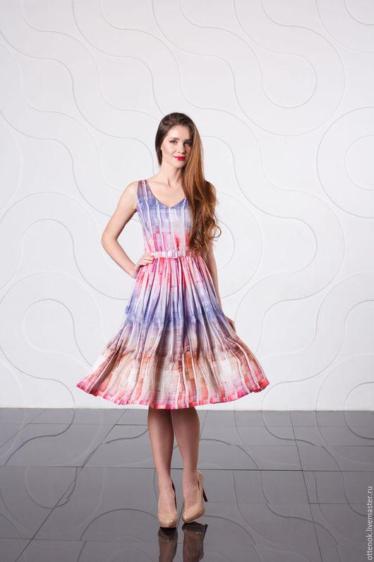 Платья ручной работы. Ярмарка Мастеров - ручная работа. Купить Воздушное вискозное платье. Handmade. Комбинированный, платье с пышной юбкой