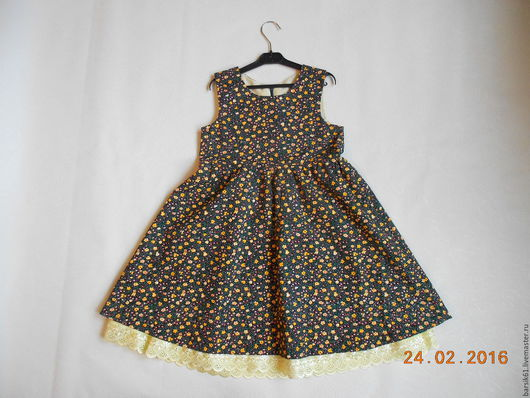 Одежда для девочек, ручной работы. Ярмарка Мастеров - ручная работа. Купить платье для девочки 4-5 лет на рост 105-110 см сатин. Handmade.