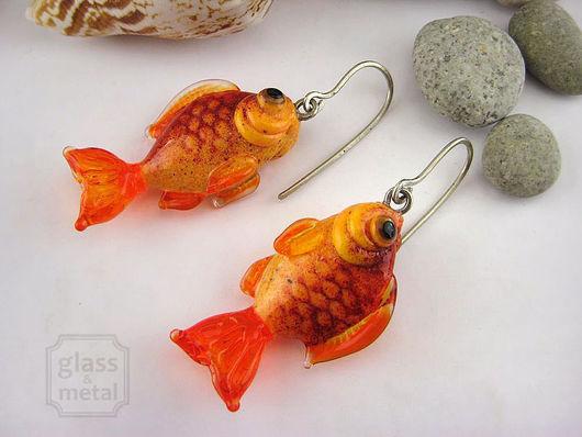 """Серьги ручной работы. Ярмарка Мастеров - ручная работа. Купить Серьги """"Золотые Рыбки"""" лэмпворк, нейзильбер. Handmade. Оранжевый"""