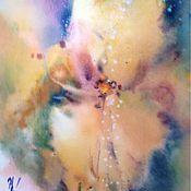 Картины и панно ручной работы. Ярмарка Мастеров - ручная работа Акварель Желтый Ирис. Handmade.