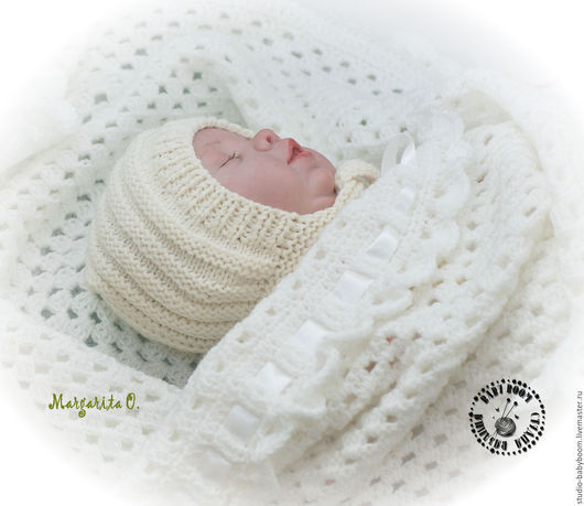 Для новорожденных, ручной работы. Ярмарка Мастеров - ручная работа. Купить Шапочка - чепчик для новорожденного - 2. Handmade. Белый