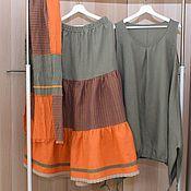 Sundresses handmade. Livemaster - original item 202 Linen sundress boho skirt scarf. Handmade.