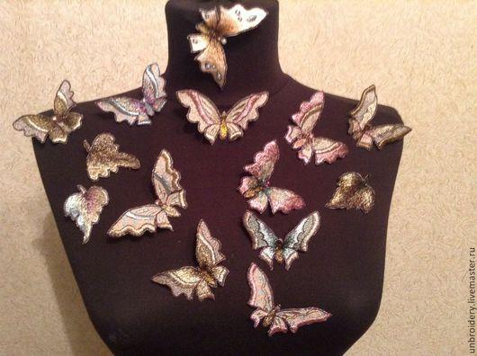Галстуки, бабочки ручной работы. Ярмарка Мастеров - ручная работа. Купить Бабочки. Handmade. Разноцветный, блуза, шифон, вышивка