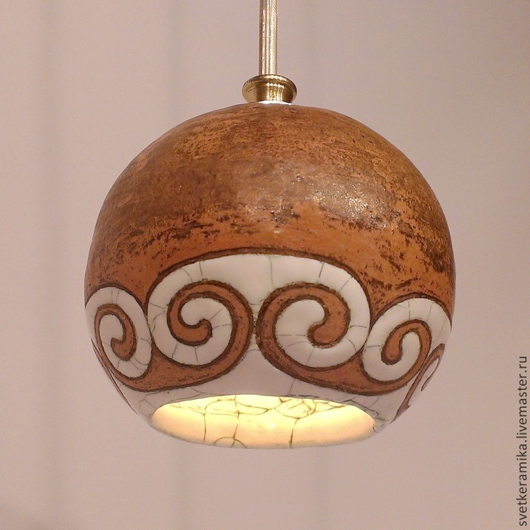 Ceramic lamp 'Curls on the ball', Lamps, Moscow, Фото №1