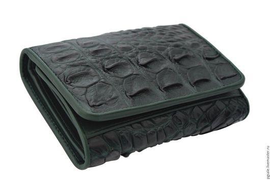 Кошелек из кожи крокодила. Кожа крокодила. Зеленый кошелек. Женский кошелек. Купить кошелек. Подарок. Кошелек в подарок. Подарок женщине.