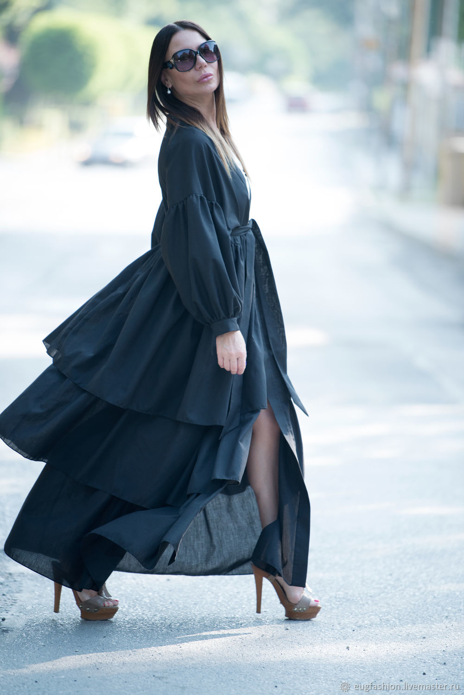 Long cotton shirt dress - KA0174CT, Dresses, Sofia,  Фото №1