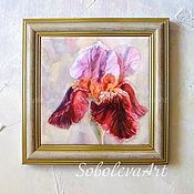 Декоративное панно Картина с Бордовым Ирисом Панно на стену Картины