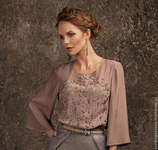 Блузки ручной работы. Ярмарка Мастеров - ручная работа. Купить Блузка из шелка и замши. Handmade. Розовый, блузка из шелка, пудровый