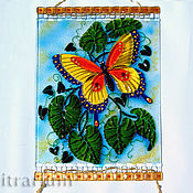 Для дома и интерьера handmade. Livemaster - original item Panels with butterflies, stained glass, fusing glass, glass painting. Handmade.