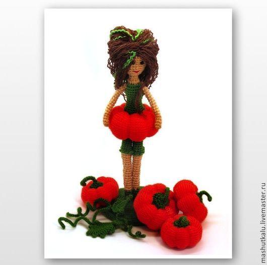 Человечки ручной работы. Ярмарка Мастеров - ручная работа. Купить Девочка Тыквочка - вязаная кукла крючком к Хеллоуину. Handmade. Тыква