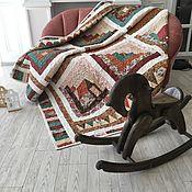 Для дома и интерьера handmade. Livemaster - original item Quilted patchwork bedspread with houses. Handmade.