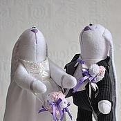 Куклы и игрушки ручной работы. Ярмарка Мастеров - ручная работа Свадебная парочка зайцев. Handmade.