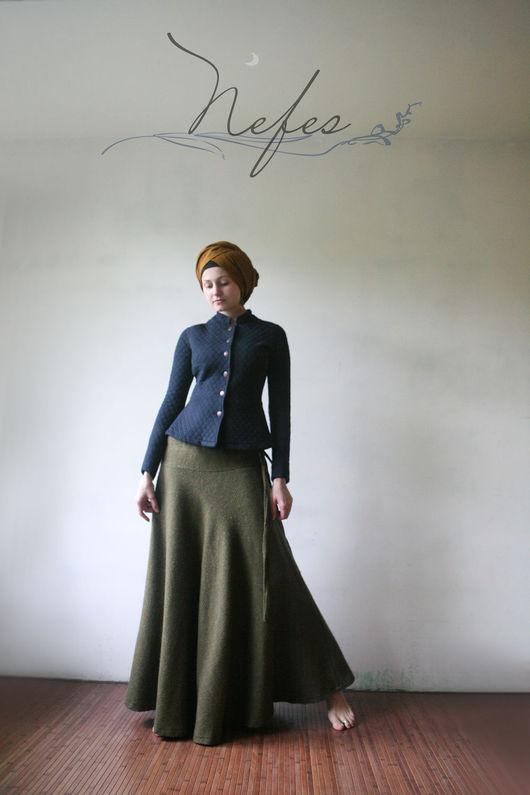 """Юбки ручной работы. Ярмарка Мастеров - ручная работа. Купить Юбка """"Азаль"""". Handmade. Хаки, теплая юбка в пол"""