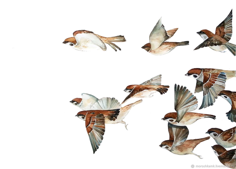 """Животные ручной работы. Ярмарка Мастеров - ручная работа. Купить Акварель. """"Воробьиная стая"""". Handmade. Весна, птицы, полет, акварель"""
