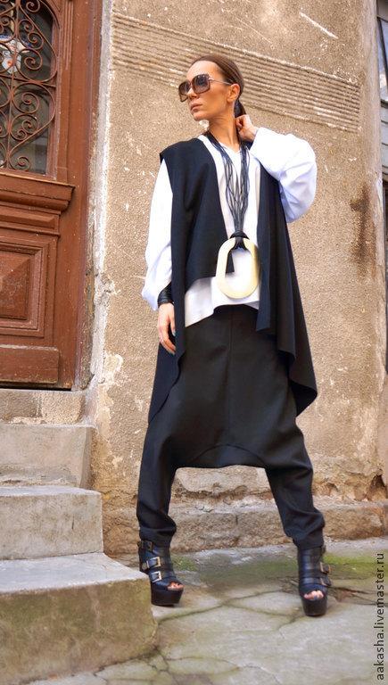 Брюки с мотней брюки черные брюк из шерсти