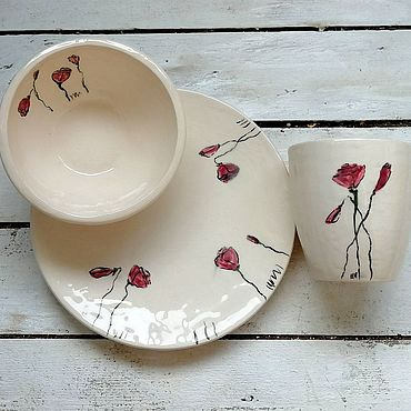 Посуда ручной работы. Ярмарка Мастеров - ручная работа Маки, сервиз, набор посуды ручной работы с росписью. Handmade.
